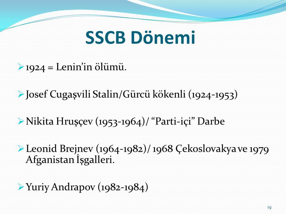 SSCB Dönemi 1924 = Lenin'in ölümü.