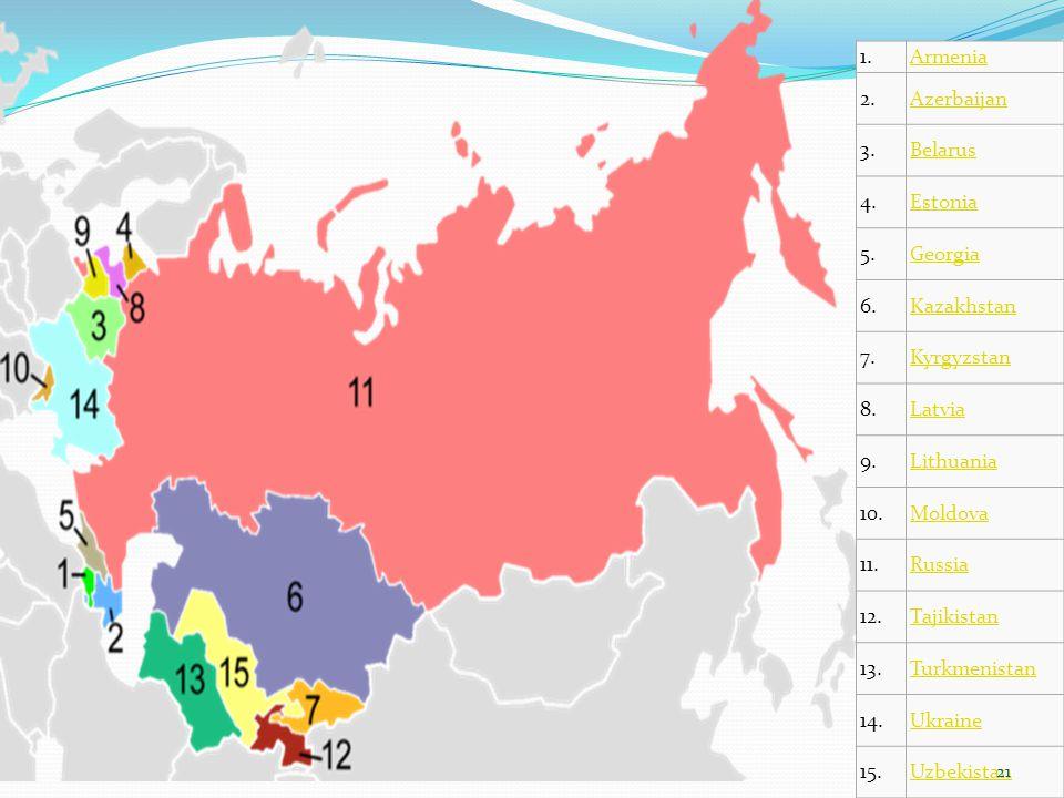 1. Armenia. 2. Azerbaijan. 3. Belarus. 4. Estonia. 5. Georgia. 6. Kazakhstan. 7. Kyrgyzstan.