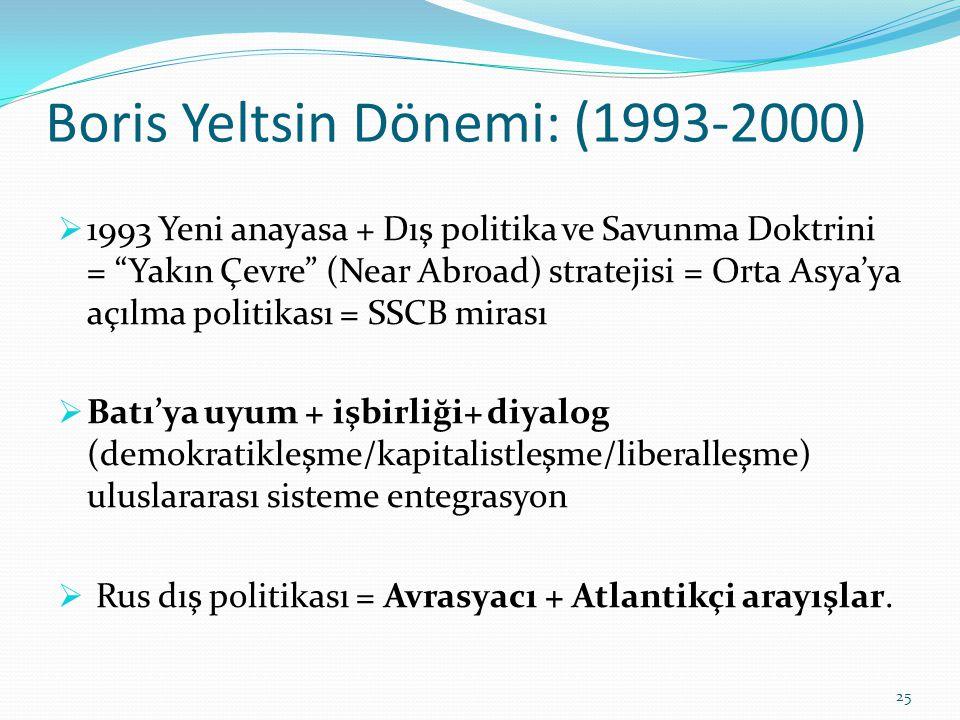 Boris Yeltsin Dönemi: (1993-2000)