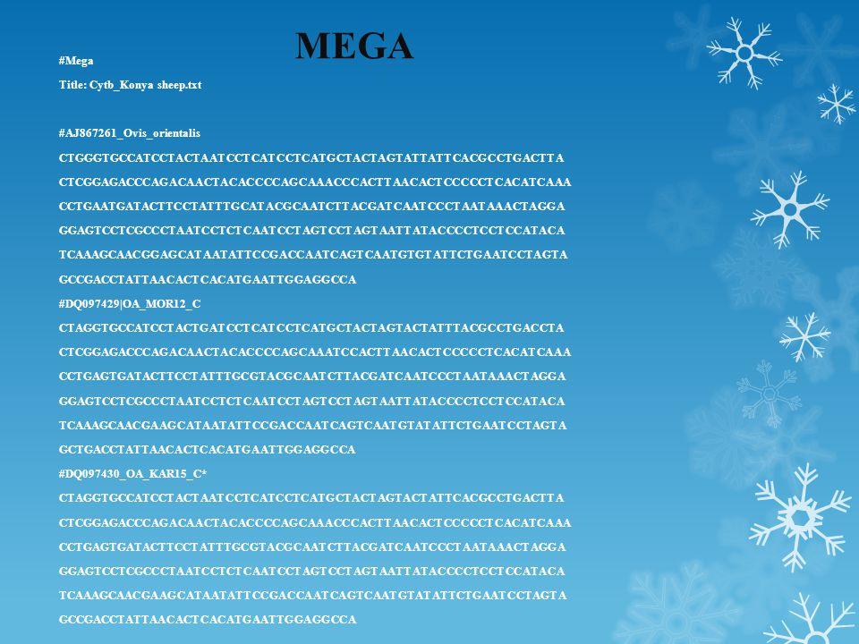 MEGA #Mega Title: Cytb_Konya sheep.txt #AJ867261_Ovis_orientalis