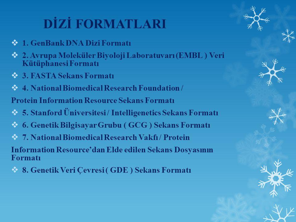 DİZİ FORMATLARI 1. GenBank DNA Dizi Formatı