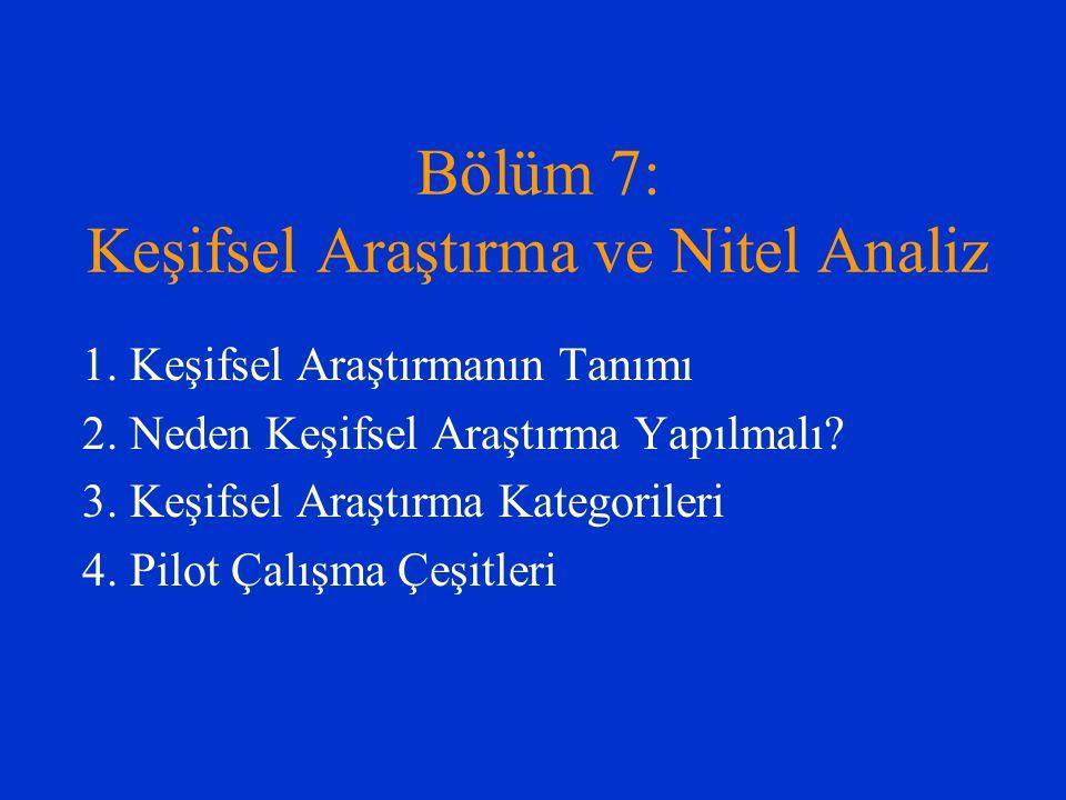 Bölüm 7: Keşifsel Araştırma ve Nitel Analiz