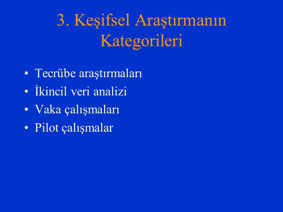 3. Keşifsel Araştırmanın Kategorileri