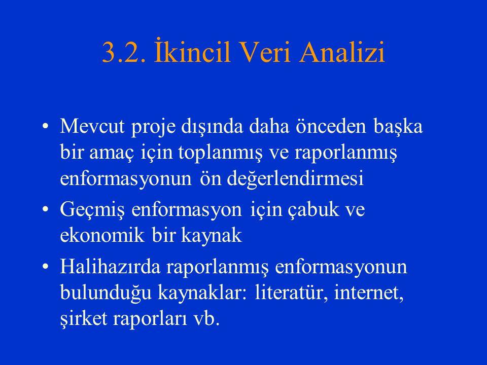 3.2. İkincil Veri Analizi Mevcut proje dışında daha önceden başka bir amaç için toplanmış ve raporlanmış enformasyonun ön değerlendirmesi.