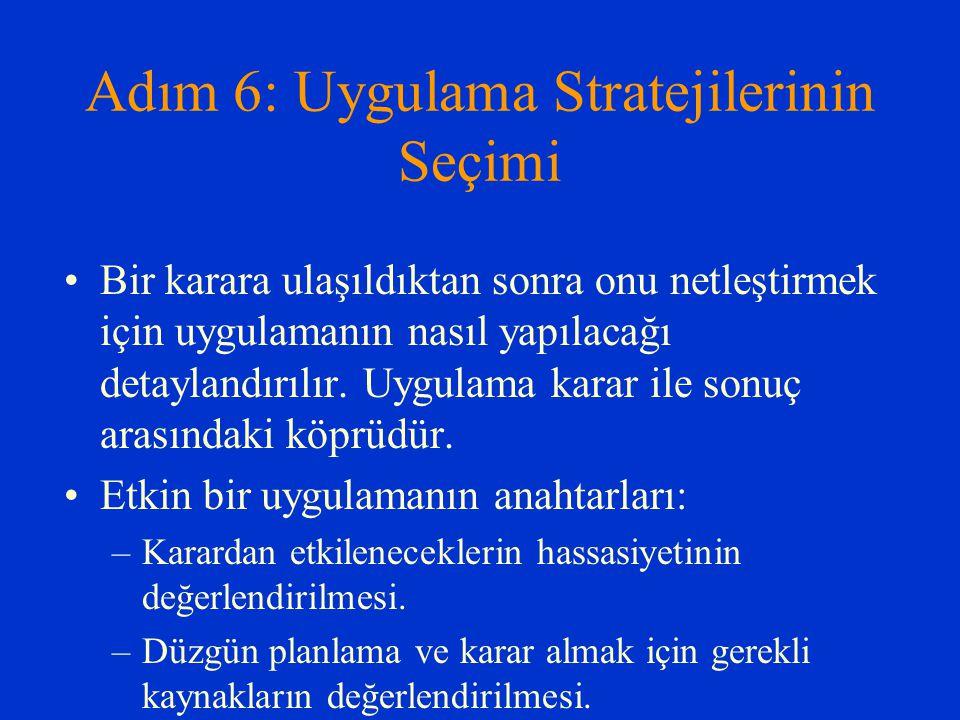 Adım 6: Uygulama Stratejilerinin Seçimi