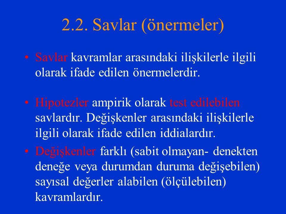 2.2. Savlar (önermeler) Savlar kavramlar arasındaki ilişkilerle ilgili olarak ifade edilen önermelerdir.
