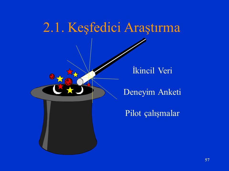 2.1. Keşfedici Araştırma İkincil Veri Deneyim Anketi Pilot çalışmalar