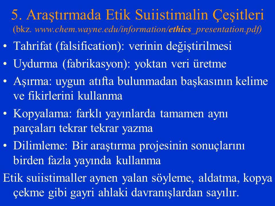 5. Araştırmada Etik Suiistimalin Çeşitleri (bkz. www. chem. wayne