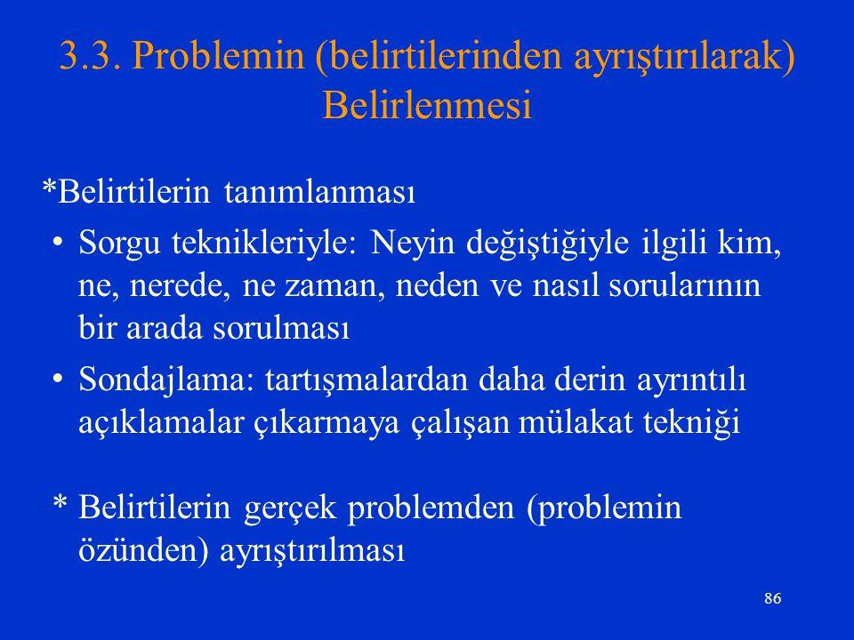 3.3. Problemin (belirtilerinden ayrıştırılarak) Belirlenmesi