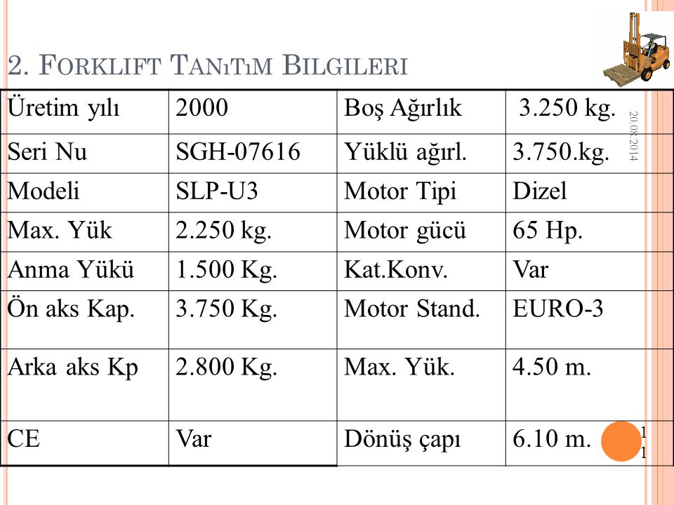 2. Forklift Tanıtım Bilgileri