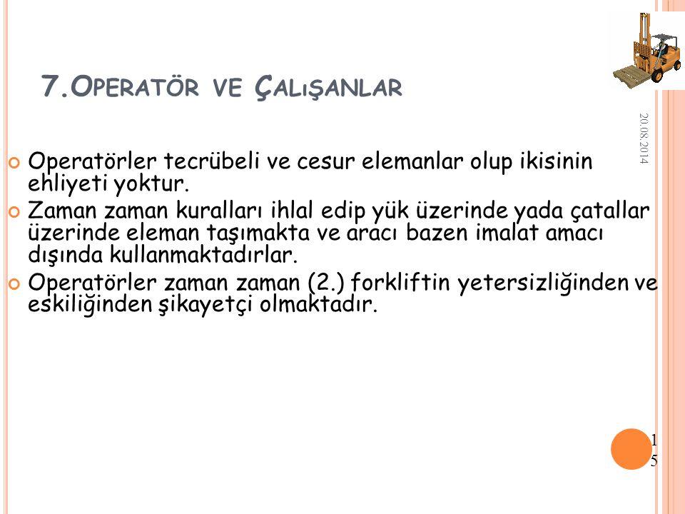 7.Operatör ve Çalışanlar