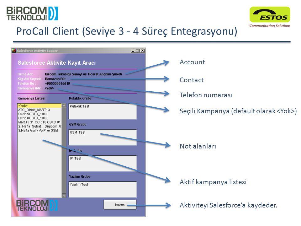 ProCall Client (Seviye 3 - 4 Süreç Entegrasyonu)