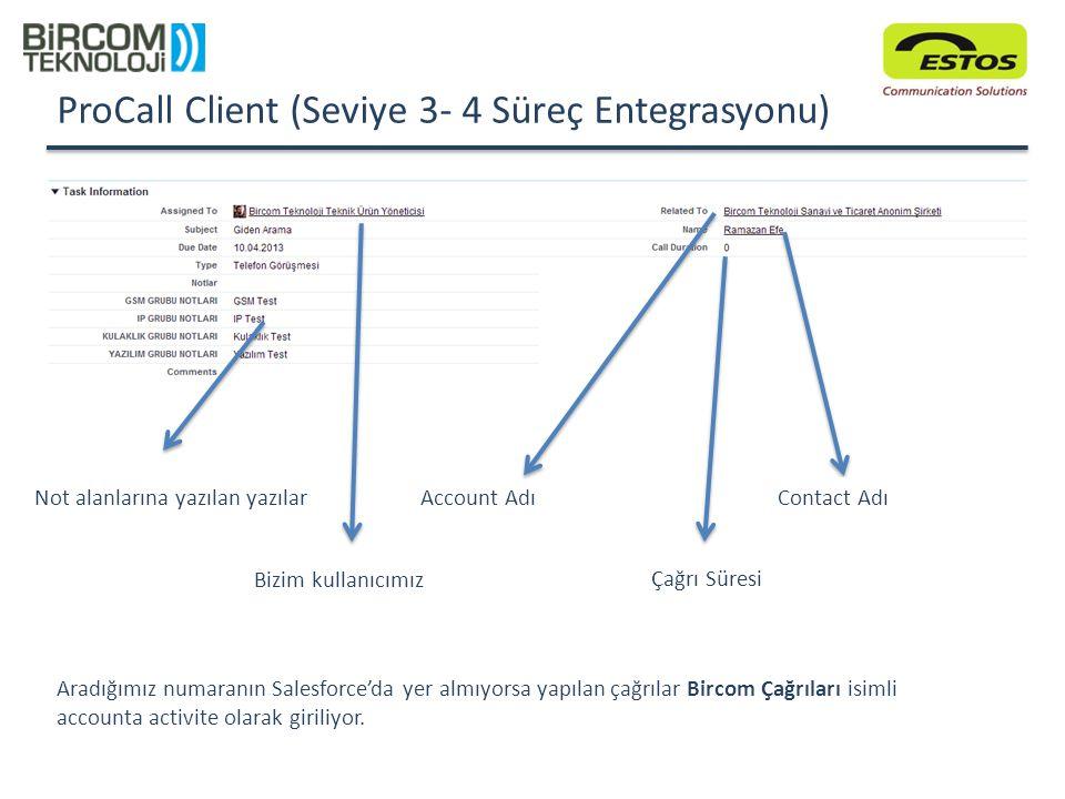 ProCall Client (Seviye 3- 4 Süreç Entegrasyonu)