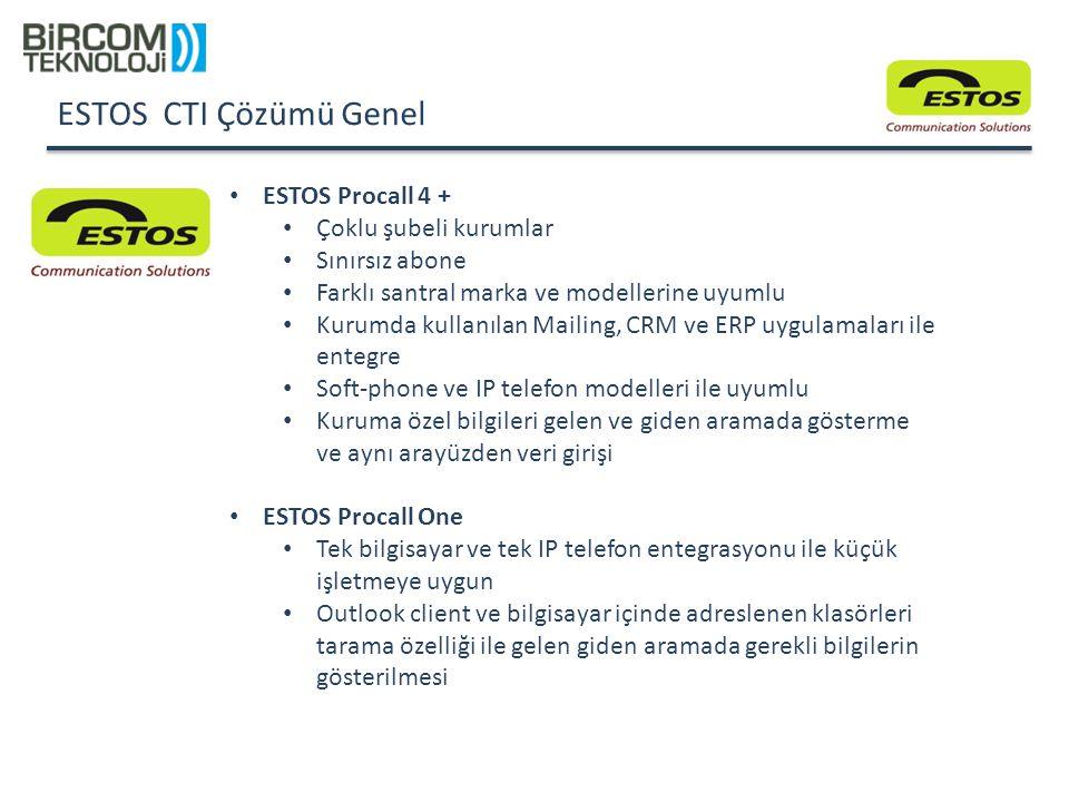 ESTOS CTI Çözümü Genel ESTOS Procall 4 + Çoklu şubeli kurumlar