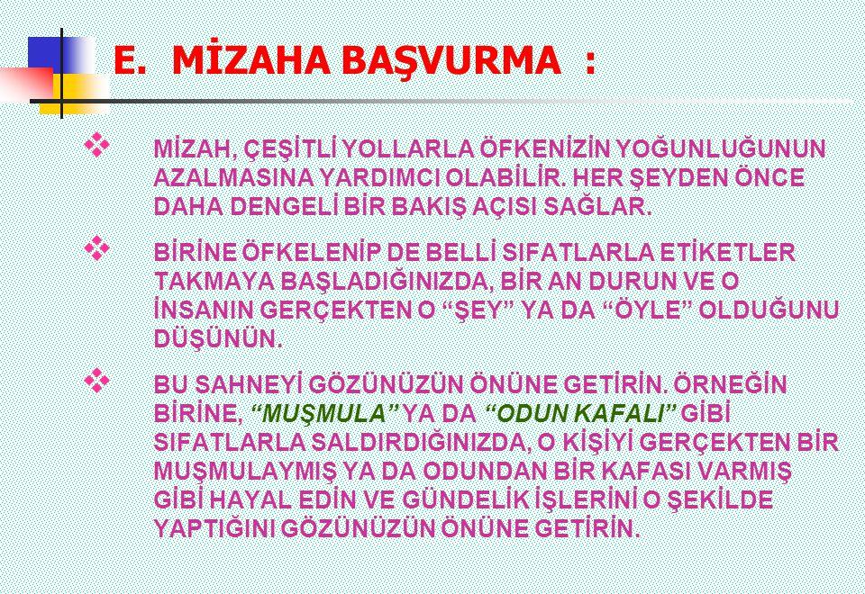E. MİZAHA BAŞVURMA :