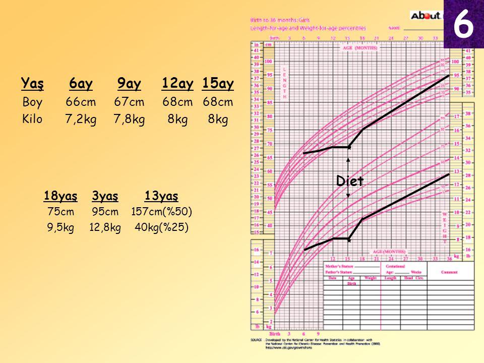 6 Yaş 6ay 9ay 12ay 15ay Diet Boy Kilo 66cm 7,2kg 67cm 7,8kg 68cm 8kg
