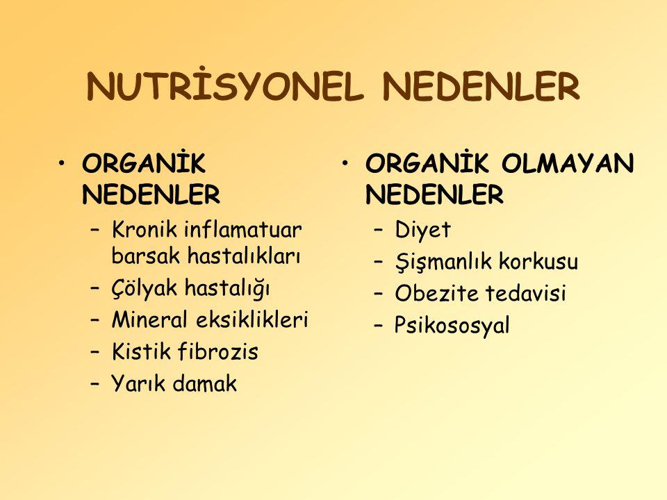 NUTRİSYONEL NEDENLER ORGANİK NEDENLER ORGANİK OLMAYAN NEDENLER