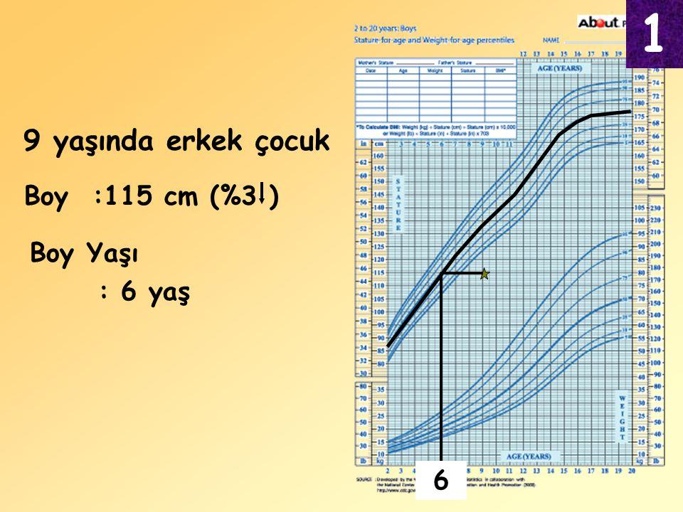 1 9 yaşında erkek çocuk Boy :115 cm (%3 ) Boy Yaşı : 6 yaş 6