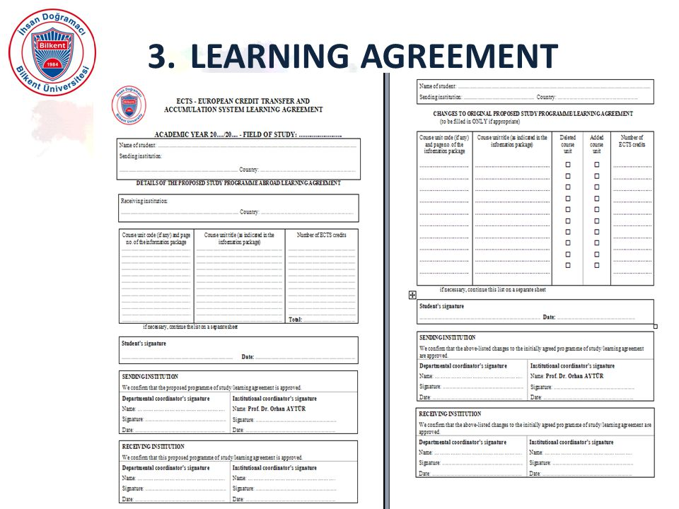 3. LEARNING AGREEMENT