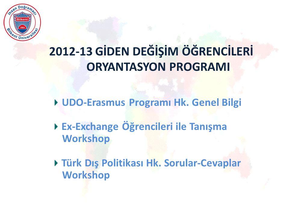 2012-13 GİDEN DEĞİŞİM ÖĞRENCİLERİ ORYANTASYON PROGRAMI