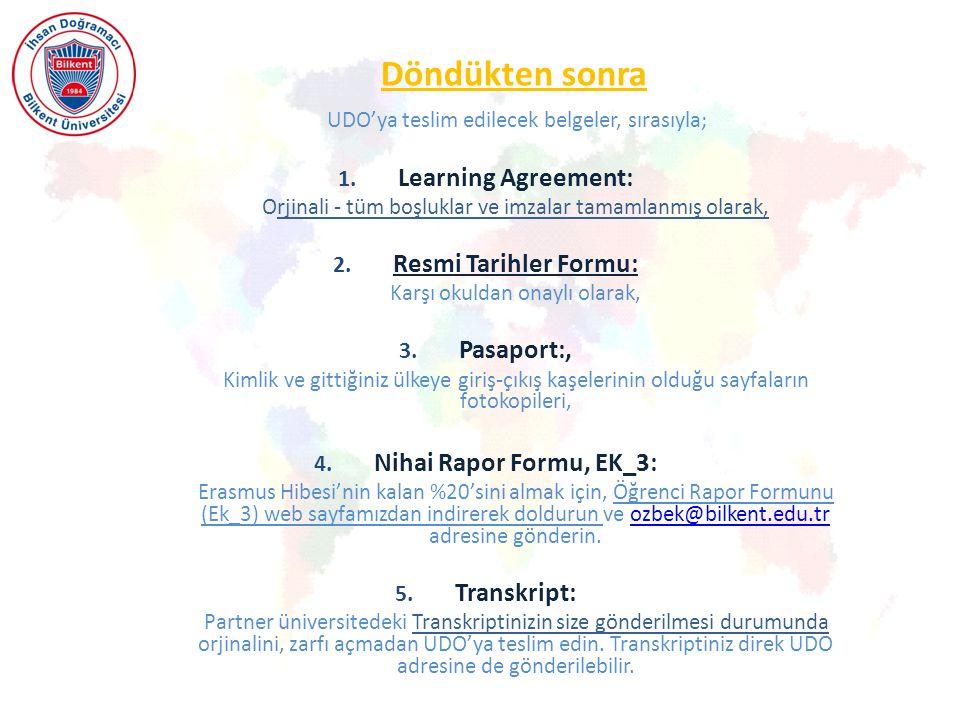 Döndükten sonra Learning Agreement: Resmi Tarihler Formu: Pasaport:,