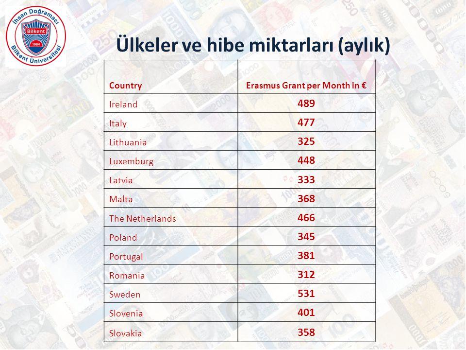Ülkeler ve hibe miktarları (aylık)