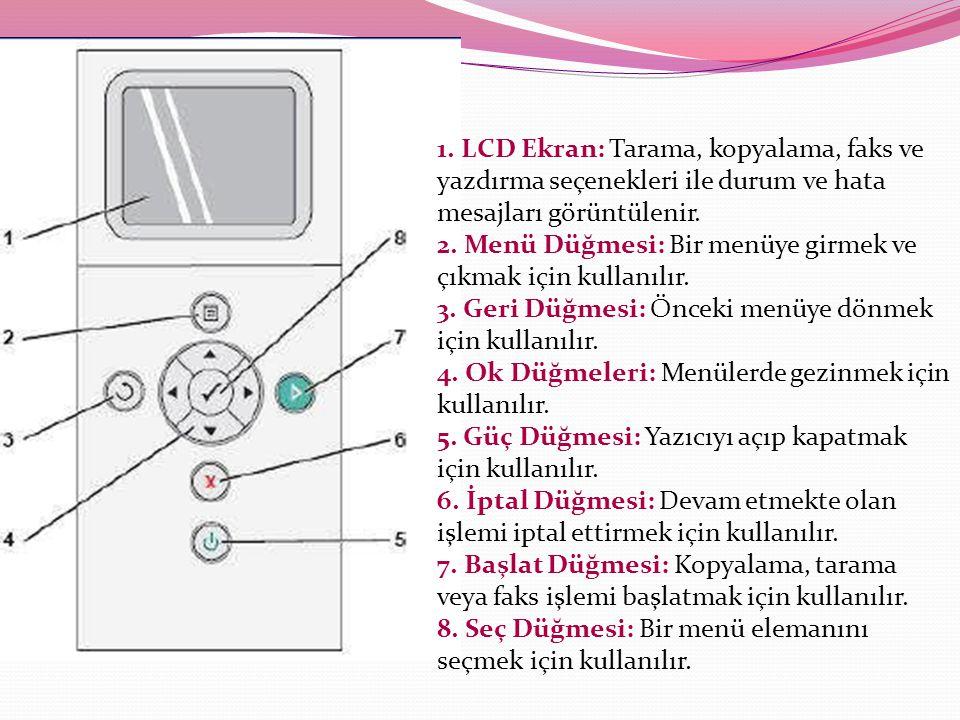 1. LCD Ekran: Tarama, kopyalama, faks ve yazdırma seçenekleri ile durum ve hata