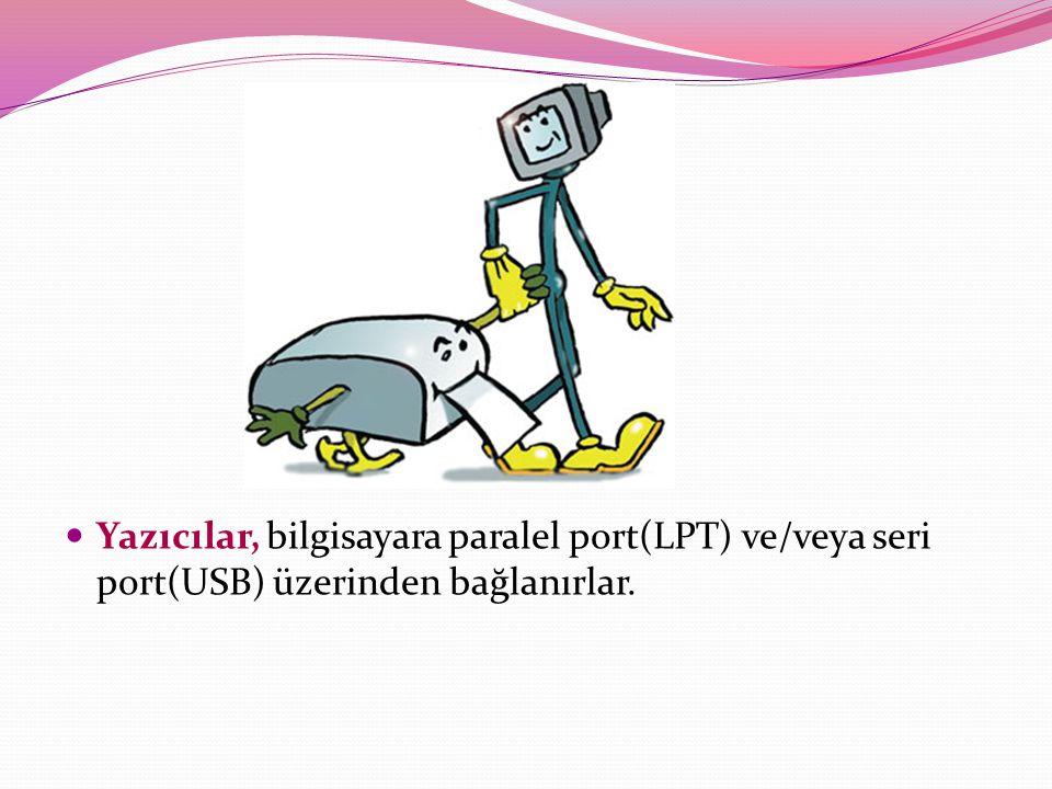 Yazıcılar, bilgisayara paralel port(LPT) ve/veya seri port(USB) üzerinden bağlanırlar.