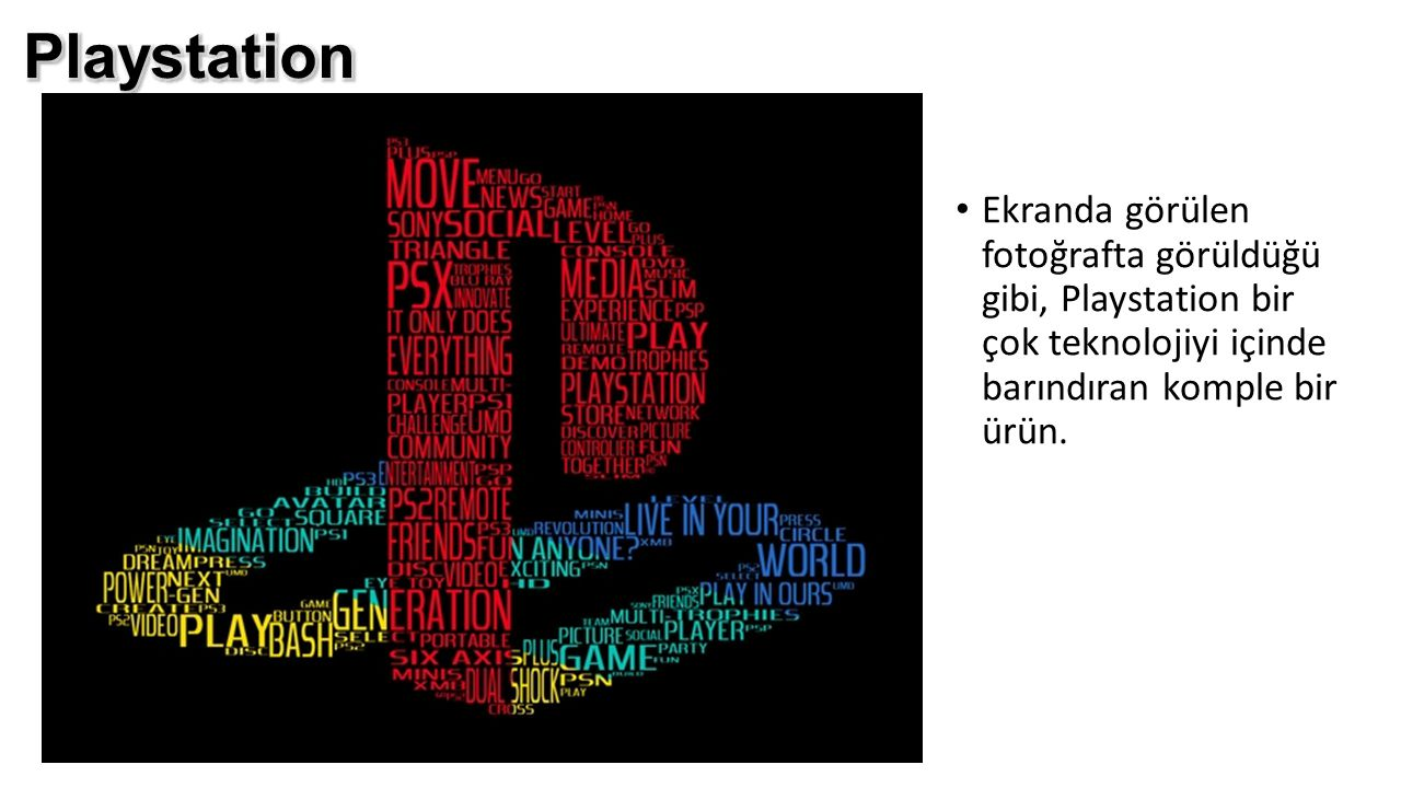 Playstation Ekranda görülen fotoğrafta görüldüğü gibi, Playstation bir çok teknolojiyi içinde barındıran komple bir ürün.