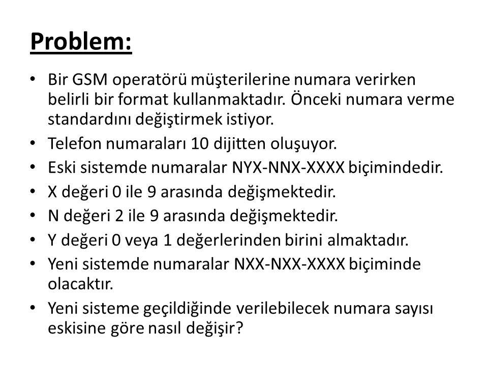 Problem: Bir GSM operatörü müşterilerine numara verirken belirli bir format kullanmaktadır. Önceki numara verme standardını değiştirmek istiyor.
