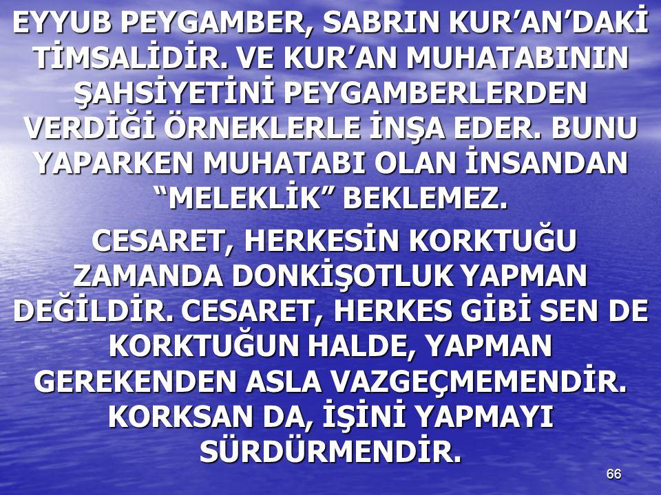 EYYUB PEYGAMBER, SABRIN KUR'AN'DAKİ TİMSALİDİR
