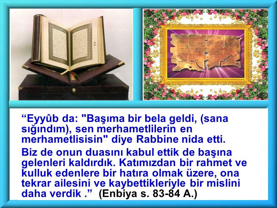 Eyyûb da: Başıma bir bela geldi, (sana sığındım), sen merhametlilerin en merhametlisisin diye Rabbine nida etti.