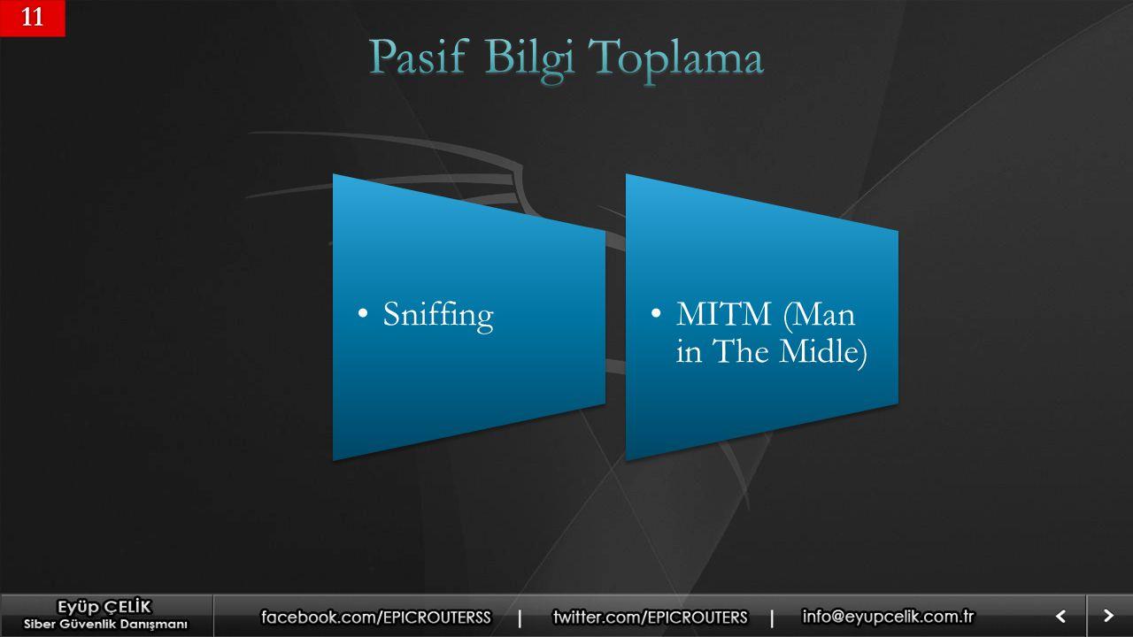 11 Pasif Bilgi Toplama Sniffing MITM (Man in The Midle)