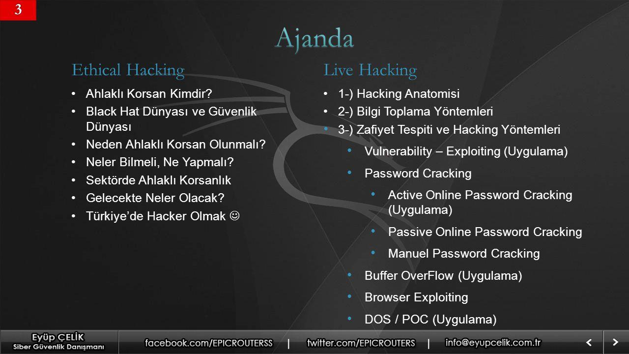 Ajanda Ethical Hacking Live Hacking 3 Ahlaklı Korsan Kimdir