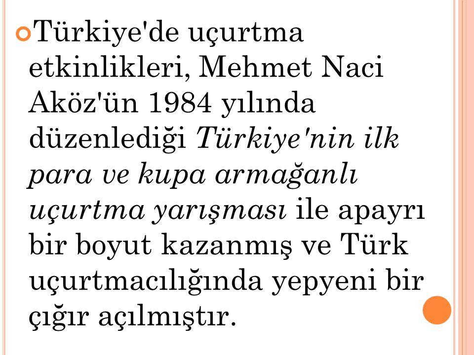 Türkiye de uçurtma etkinlikleri, Mehmet Naci Aköz ün 1984 yılında düzenlediği Türkiye nin ilk para ve kupa armağanlı uçurtma yarışması ile apayrı bir boyut kazanmış ve Türk uçurtmacılığında yepyeni bir çığır açılmıştır.