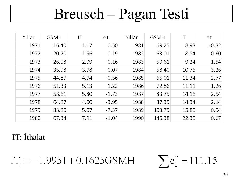 Breusch – Pagan Testi IT: İthalat