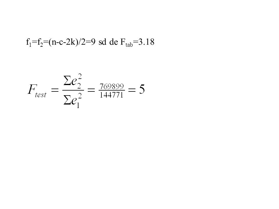 f1=f2=(n-c-2k)/2=9 sd de Ftab=3.18