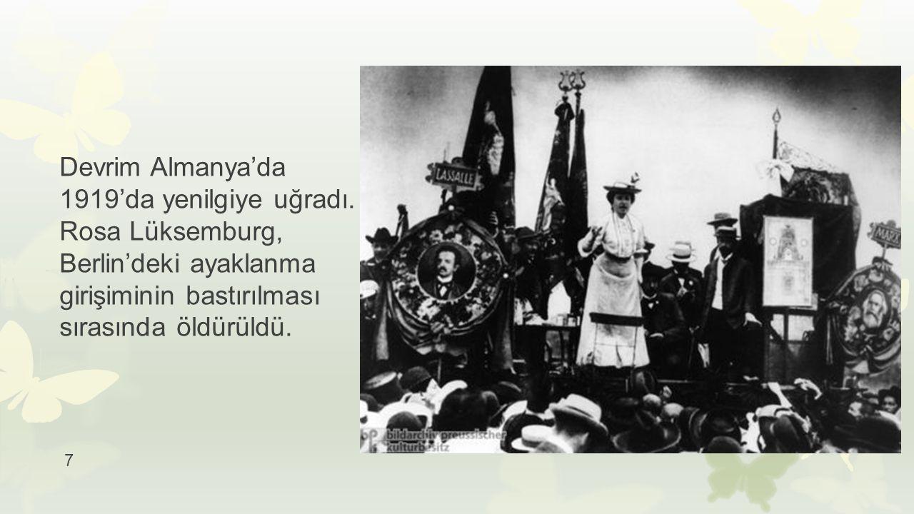 Devrim Almanya'da 1919'da yenilgiye uğradı