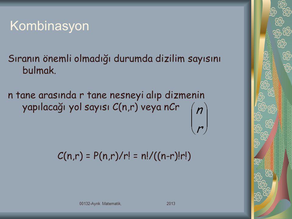 C(n,r) = P(n,r)/r! = n!/((n-r)!r!)