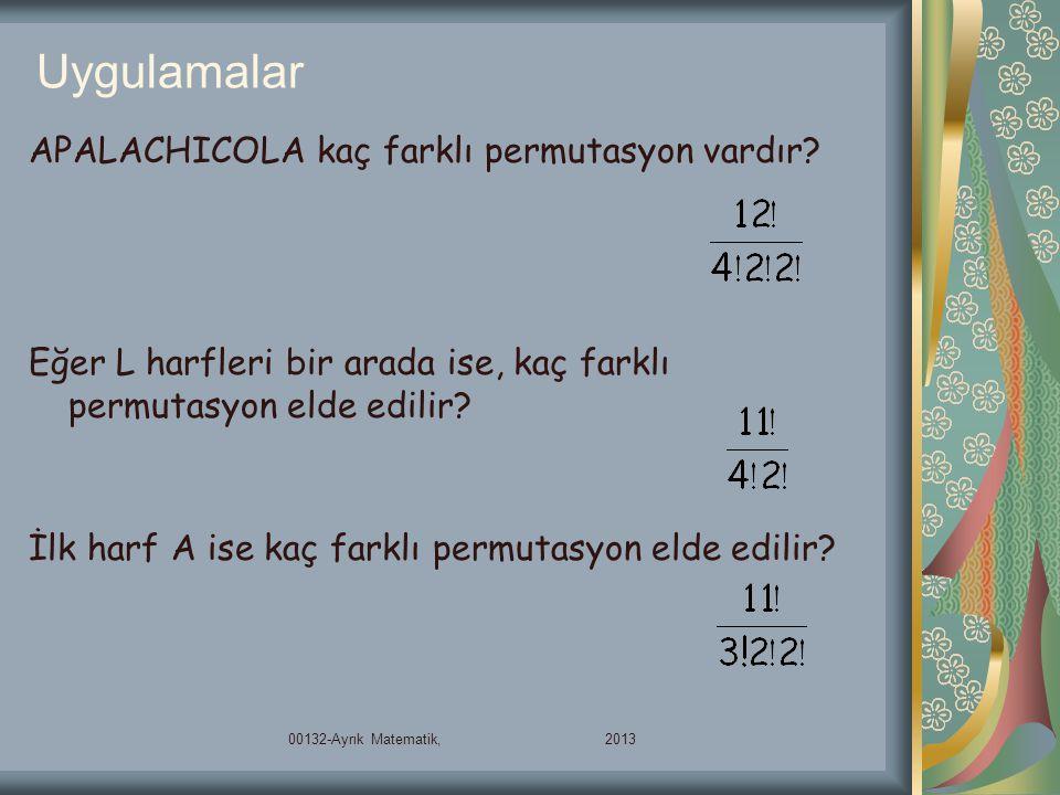 Uygulamalar APALACHICOLA kaç farklı permutasyon vardır