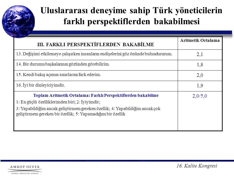Uluslararası deneyime sahip Türk yöneticilerin farklı perspektiflerden bakabilmesi