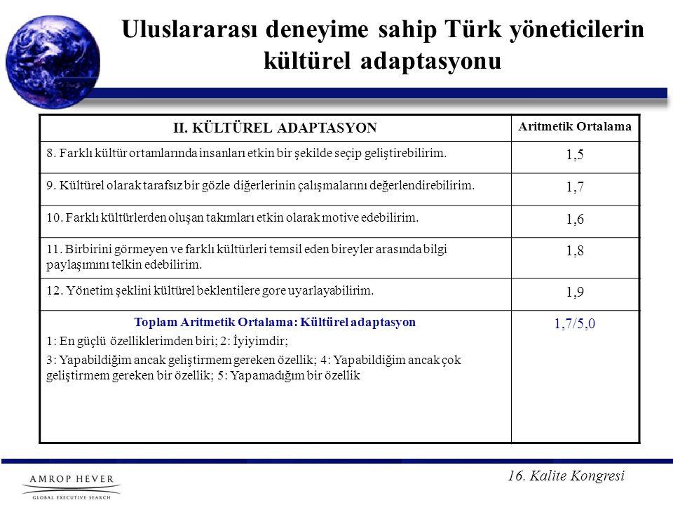 Uluslararası deneyime sahip Türk yöneticilerin kültürel adaptasyonu