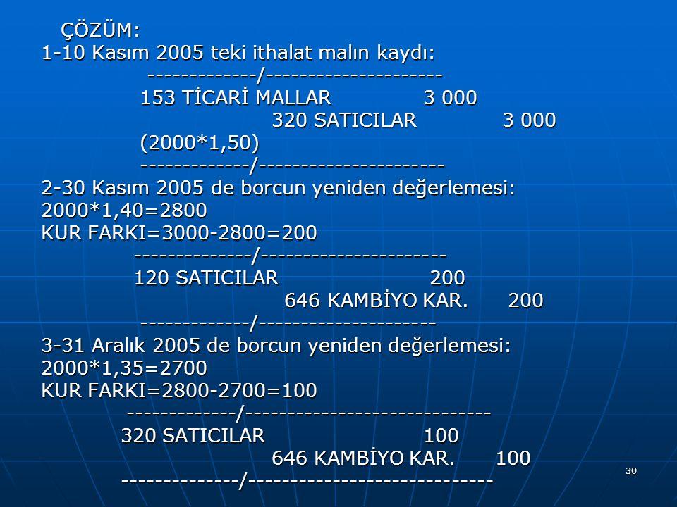 ÇÖZÜM: 1-10 Kasım 2005 teki ithalat malın kaydı: -------------/--------------------- 153 TİCARİ MALLAR 3 000.