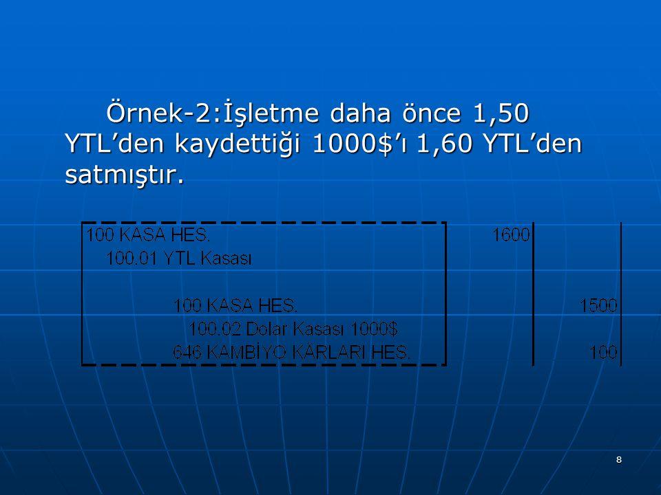 Örnek-2:İşletme daha önce 1,50 YTL'den kaydettiği 1000$'ı 1,60 YTL'den satmıştır.