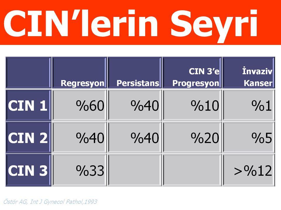 CIN'lerin Seyri CIN'lerin Seyri Östör AG, Int J Gynecol Pathol,1993