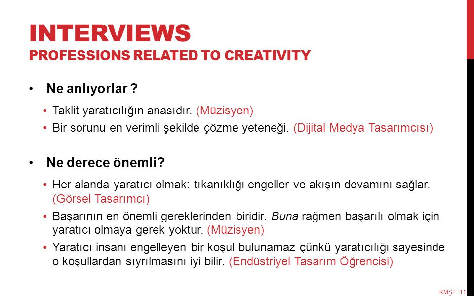 INTERVIEWS professIONS RELATED TO CREATIVITY