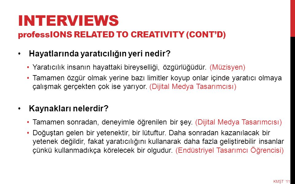 INTERVIEWS professIONS RELATED TO CREATIVITY (CONT'D)