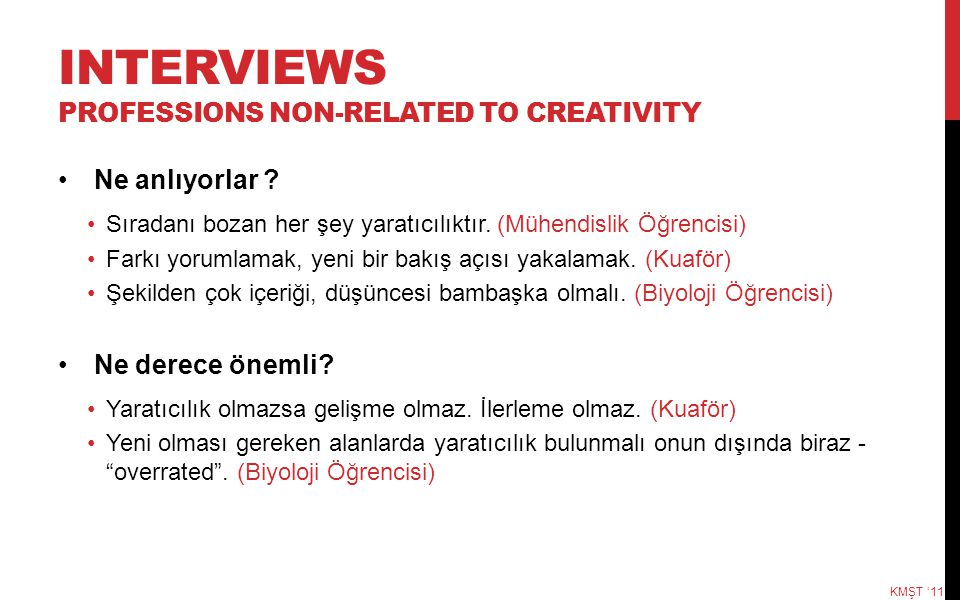 INTERVIEWS professIONS NON-RELATED TO CREATIVITY