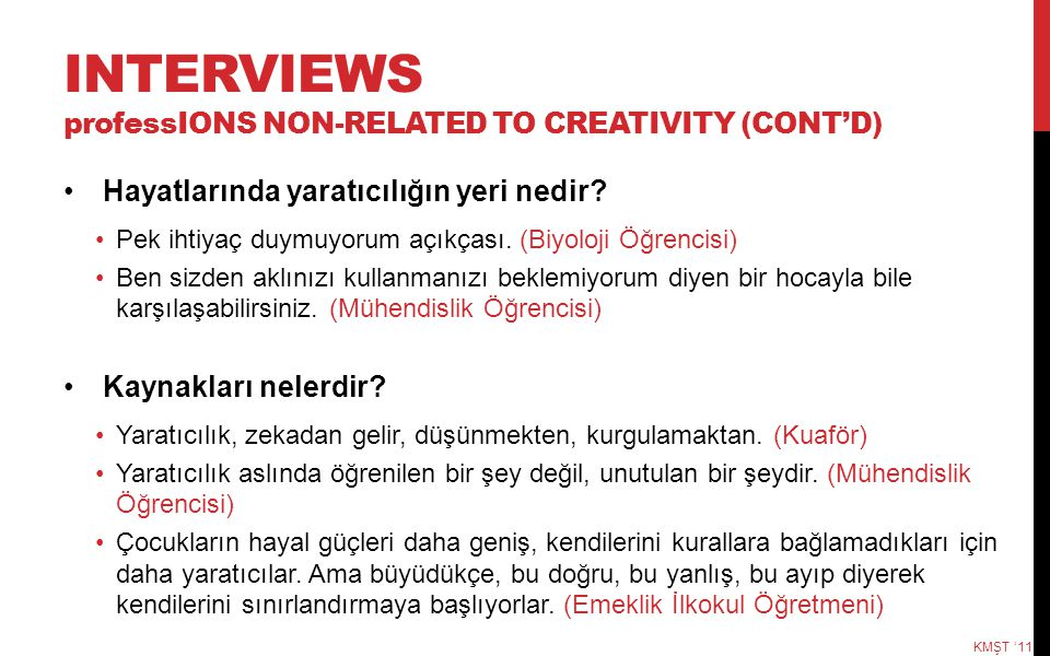 INTERVIEWS professIONS NON-RELATED TO CREATIVITY (CONT'D)