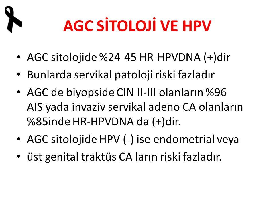 AGC SİTOLOJİ VE HPV AGC sitolojide %24-45 HR-HPVDNA (+)dir